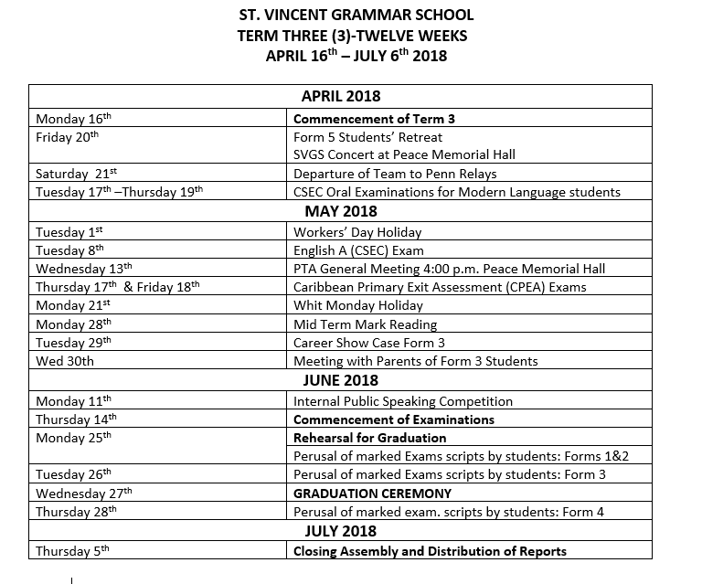 Important Dates for Term 3 - Image 1